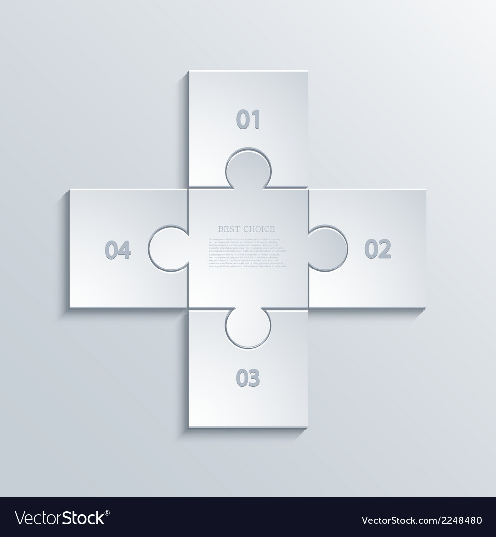 Modern puzzle infographics background vector