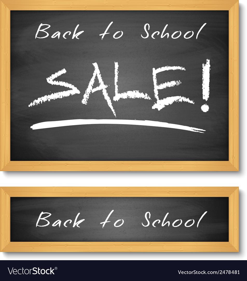 Back to school wooden black chalkboard vector