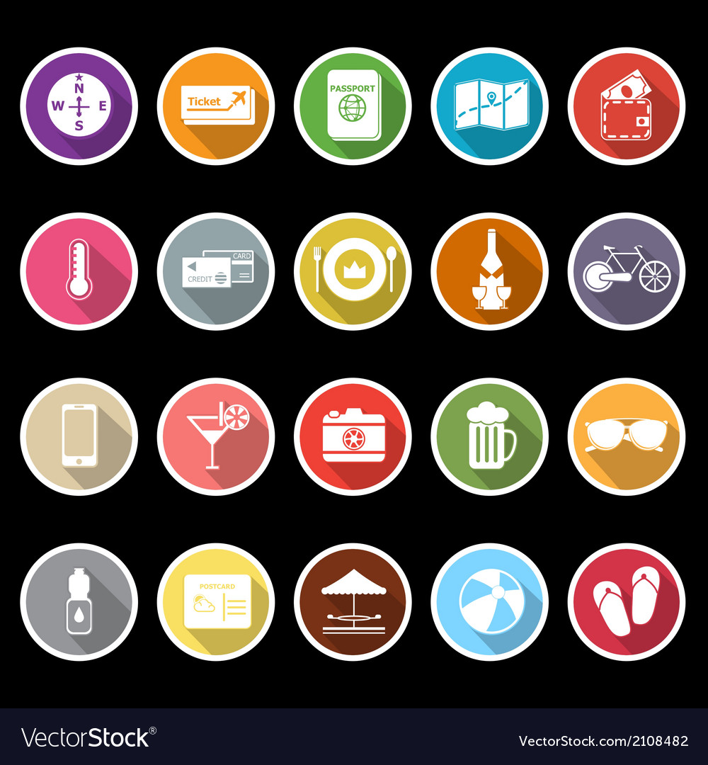 Journey icons with long shadow vector