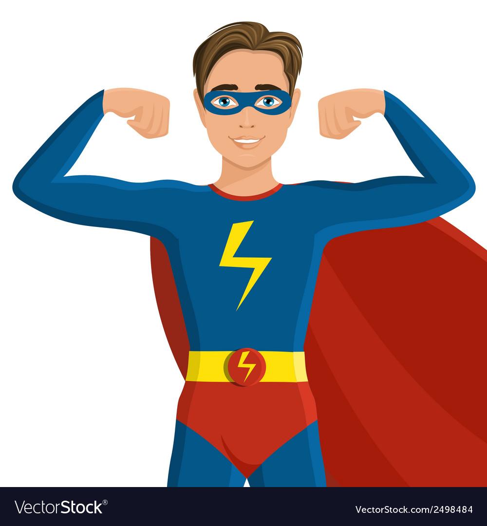 Boy in superhero costume vector