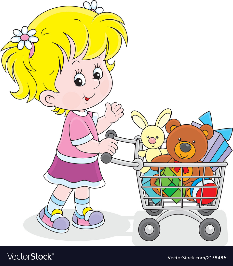 Girl with a shopping trolley of toys vector