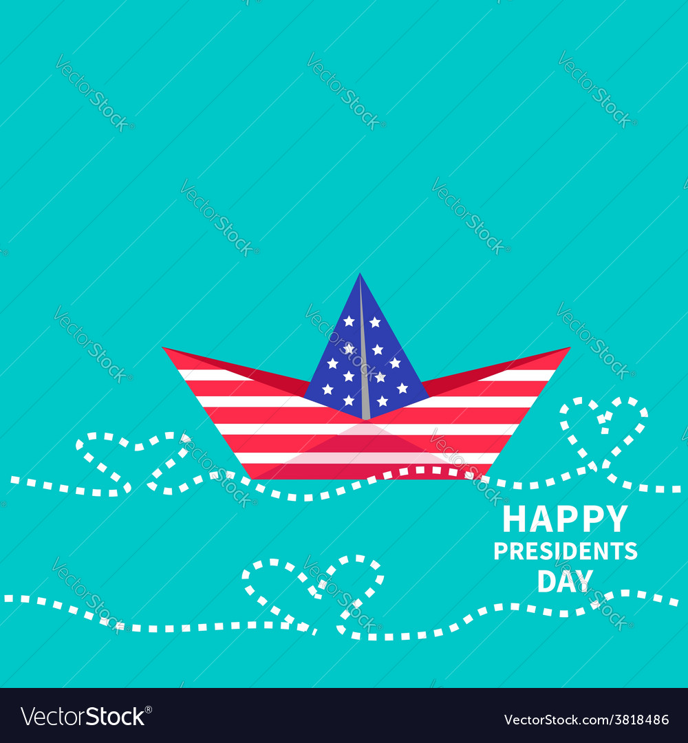Presidents day background paper boat with heart vector