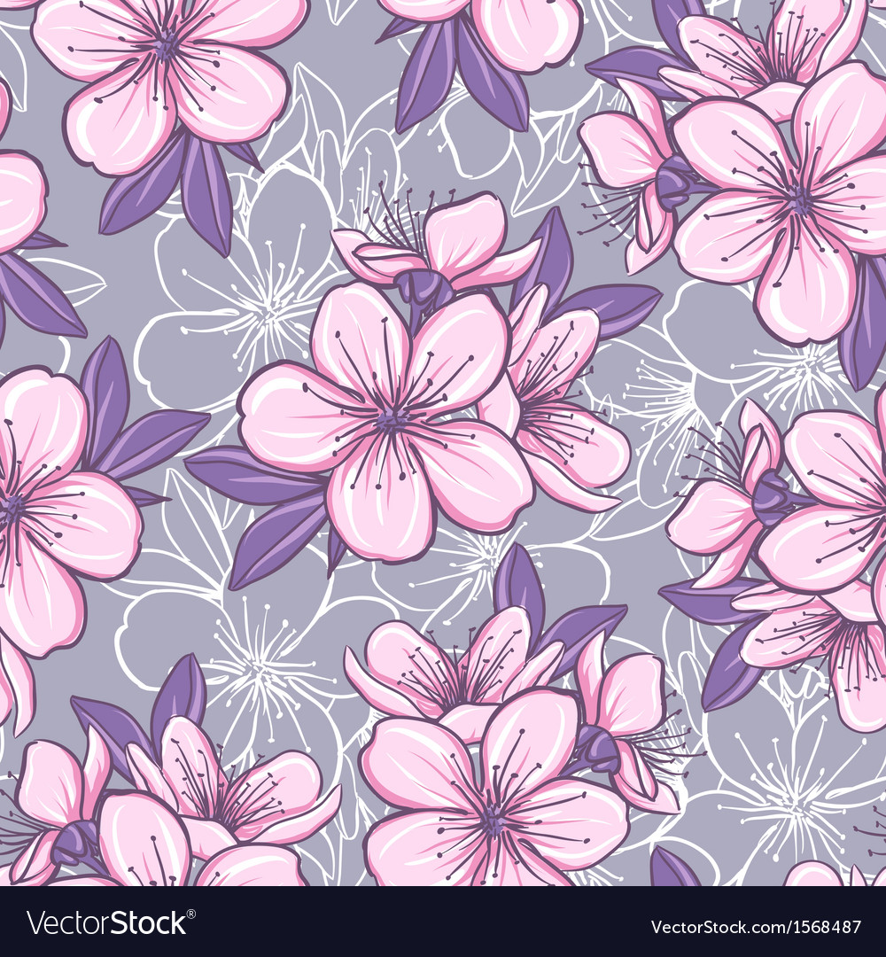 Seamless pattern with cherry blossom vector