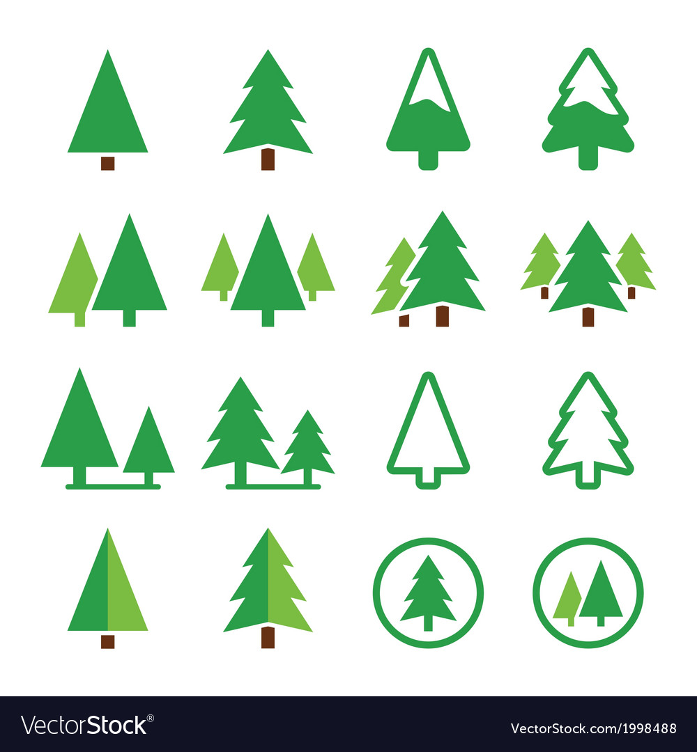 Pine tree park green icons set vector