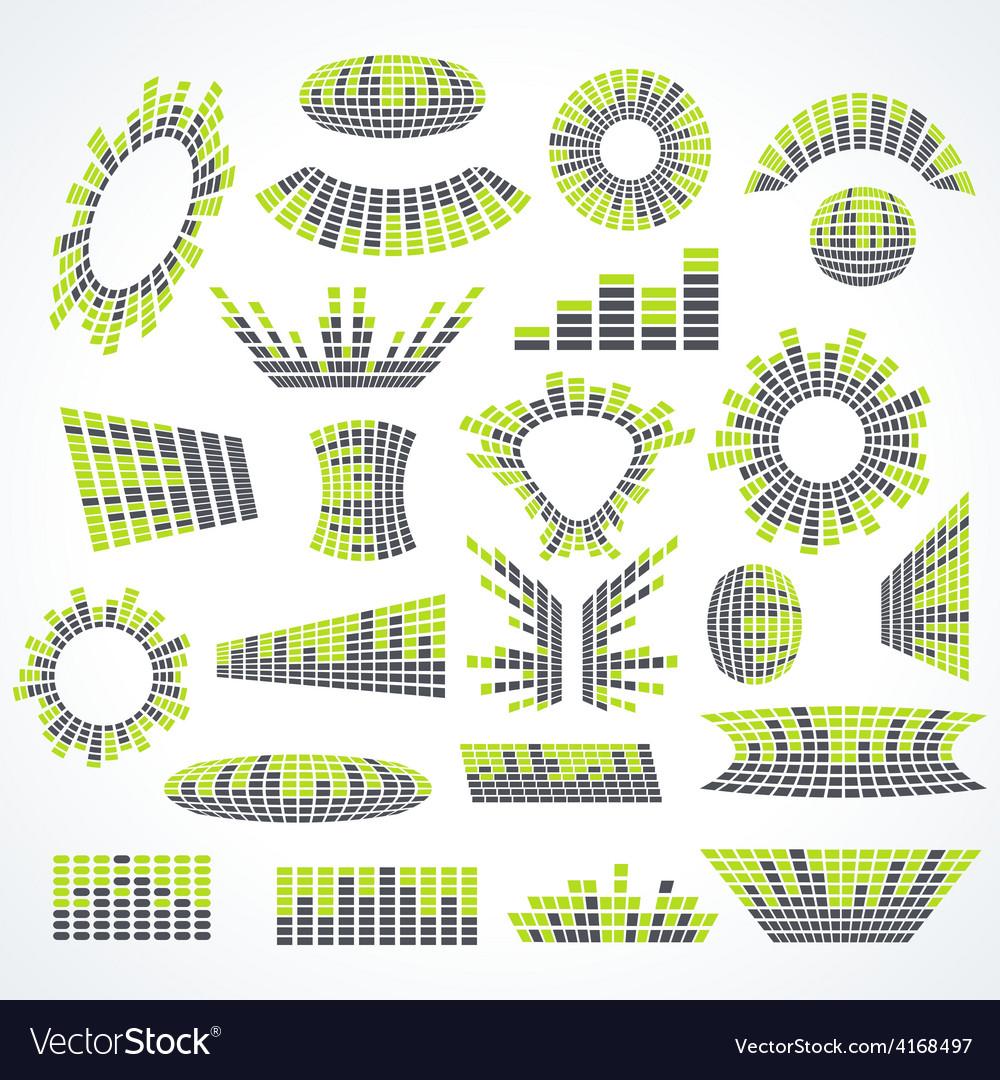 Big set music equalizer design elements vector