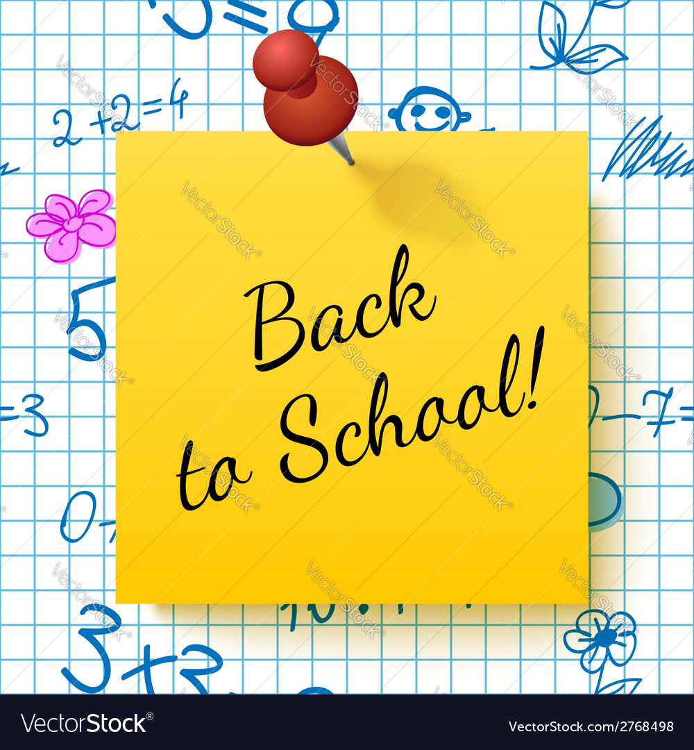 Paper note with lettering back to school vector
