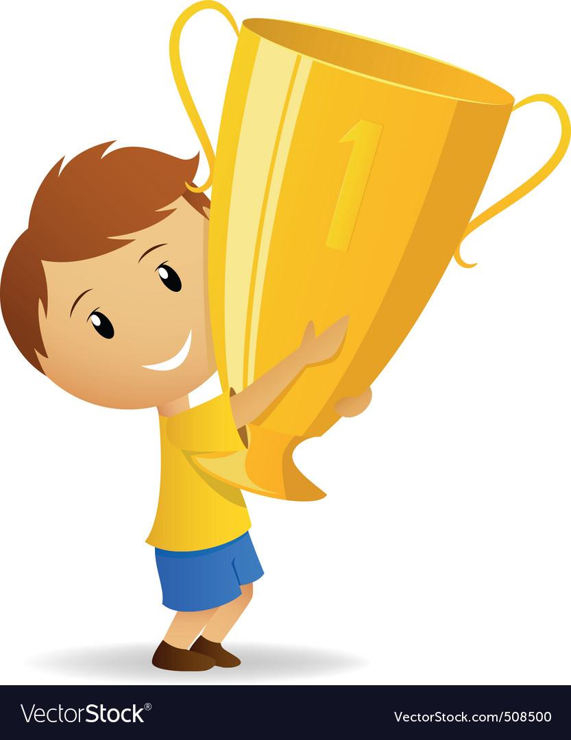 Cartoon young winner with golden trophy cup vector