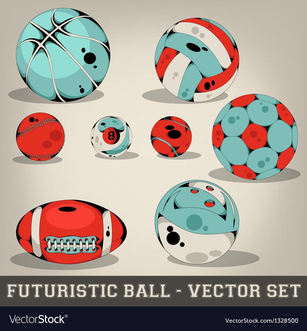 Futuristic ball set vector