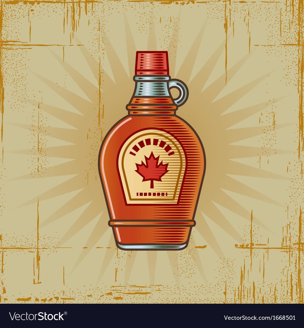 Retro maple syrup bottle vector