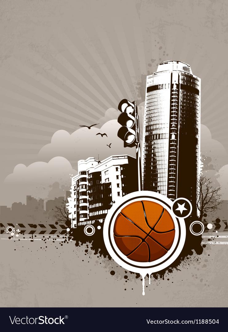 Grunge urban basketball background vector