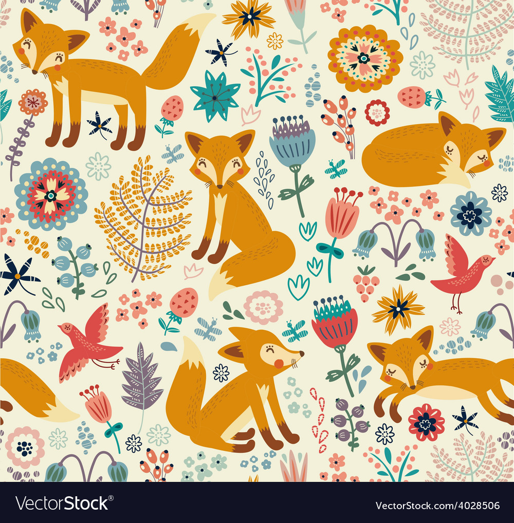 Foxy pattern vector