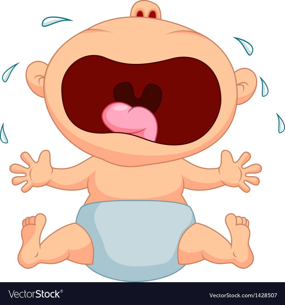 Cartoon baby boy crying vector