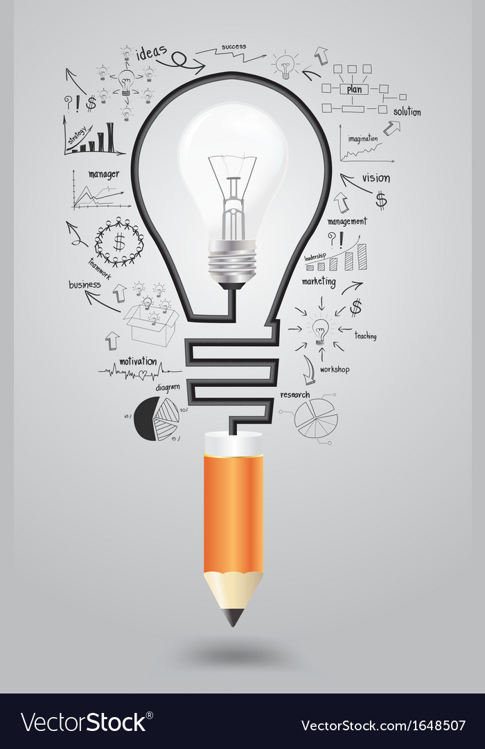 Light bulb with icons modern business and pencil vector
