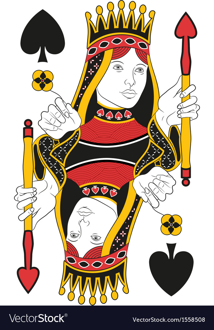 Queen of spades no card vector