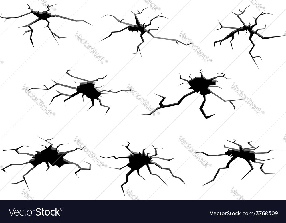 Holes and cracks on ground vector