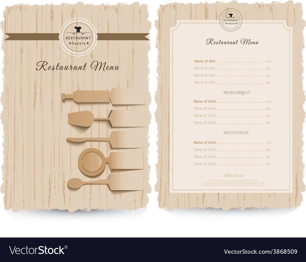 Vintage style restaurant menu design vector