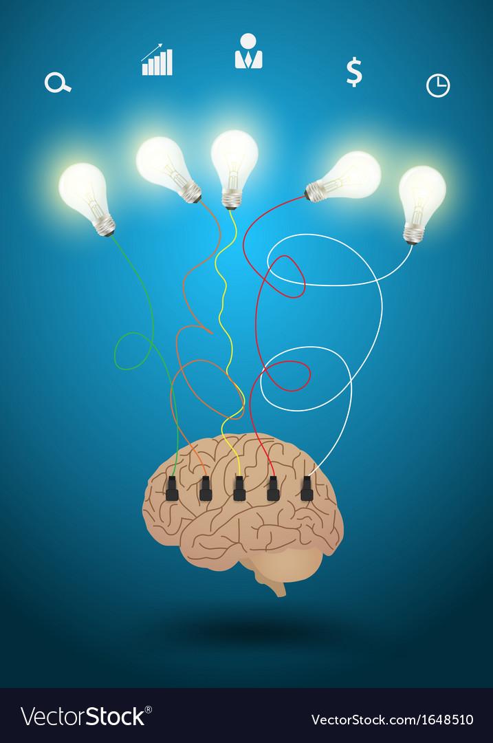 Creative brain with light bulb idea concept vector