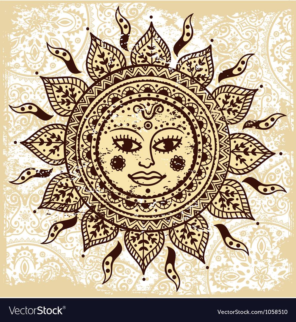 Ethnic ornamental sun vector
