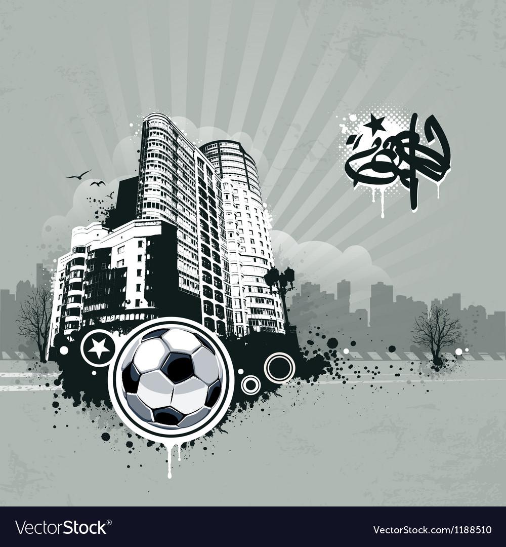 Grunge urban soccer background vector