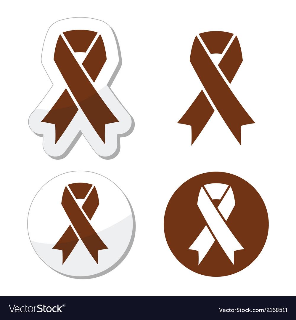 Brown ribbon anti-tobacco symbol awereness vector