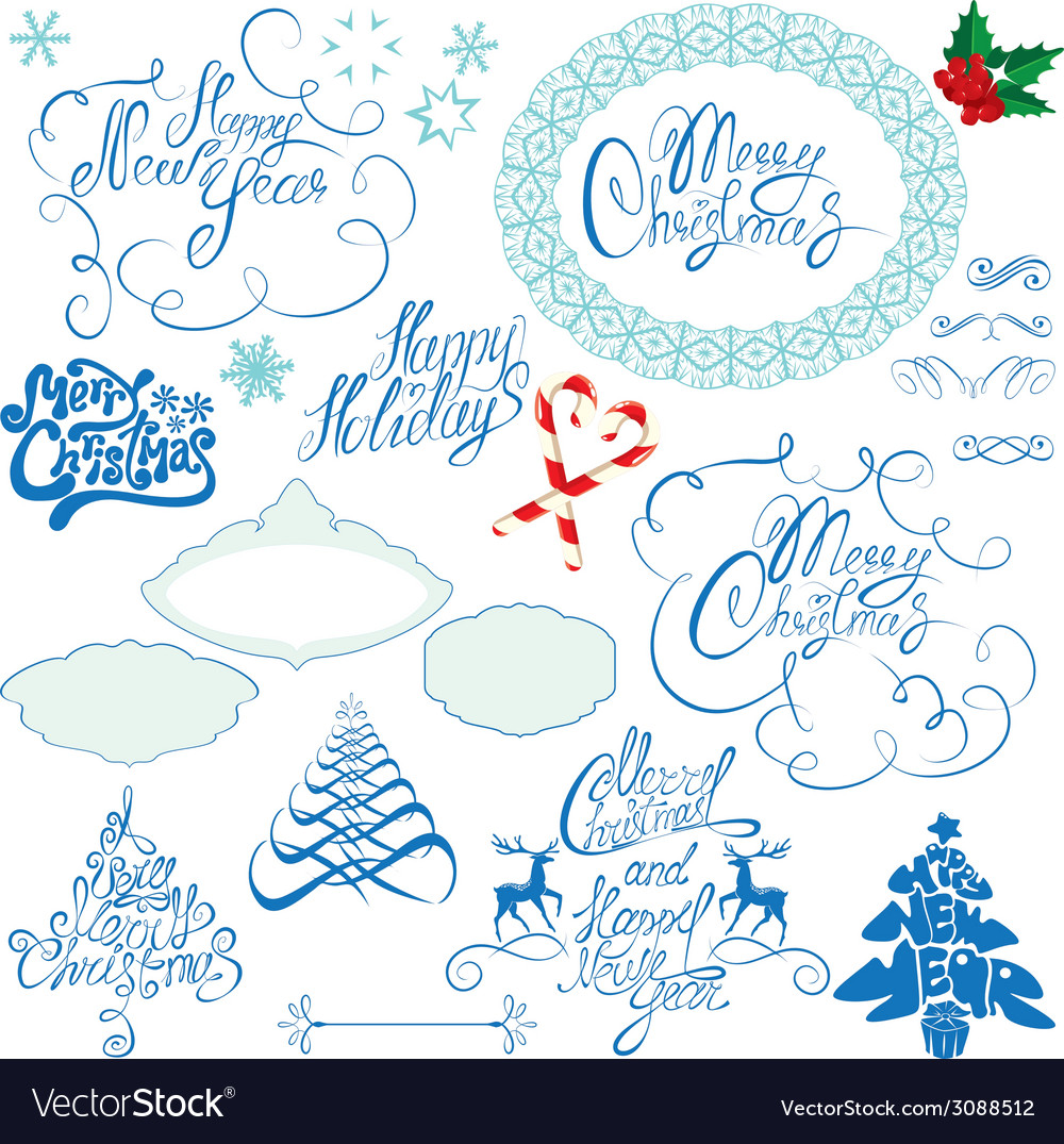 Collection of christmas and new year calligraphy h vector