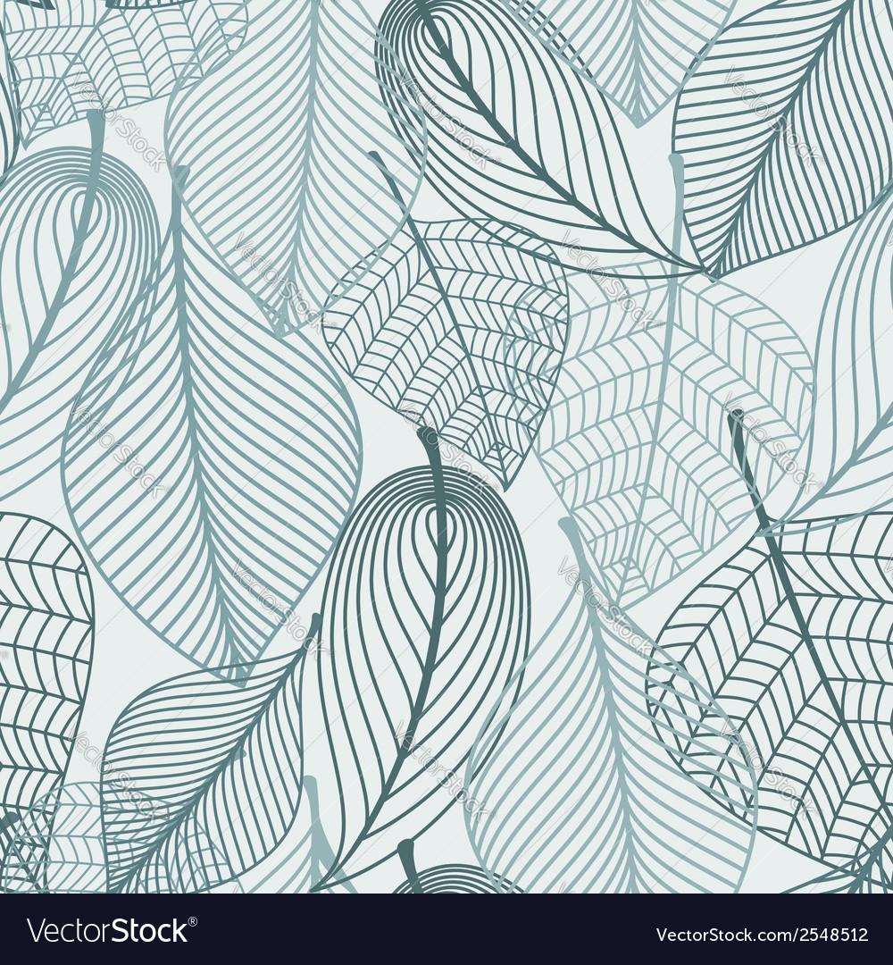 Delicate skeleton leaves seamless pattern vector