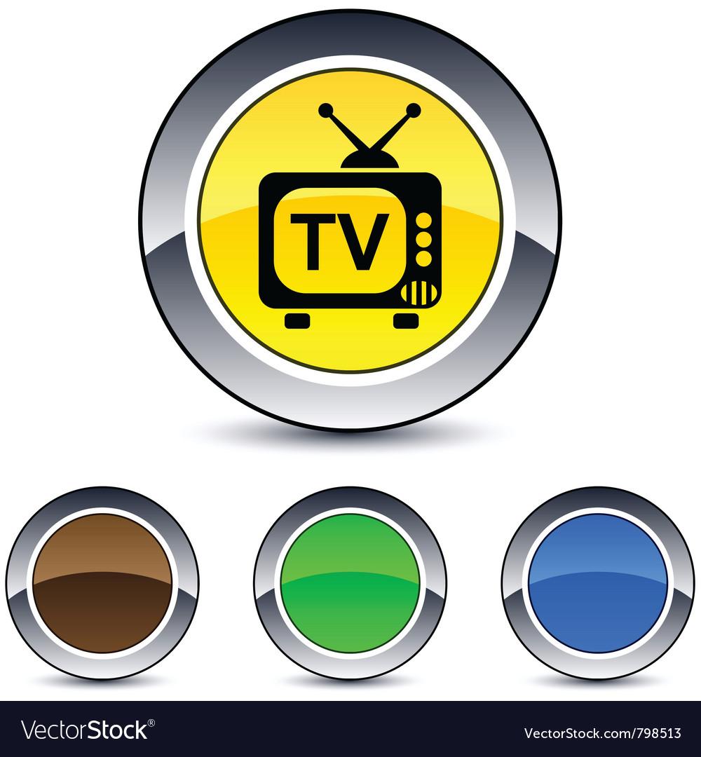 Tv round button vector