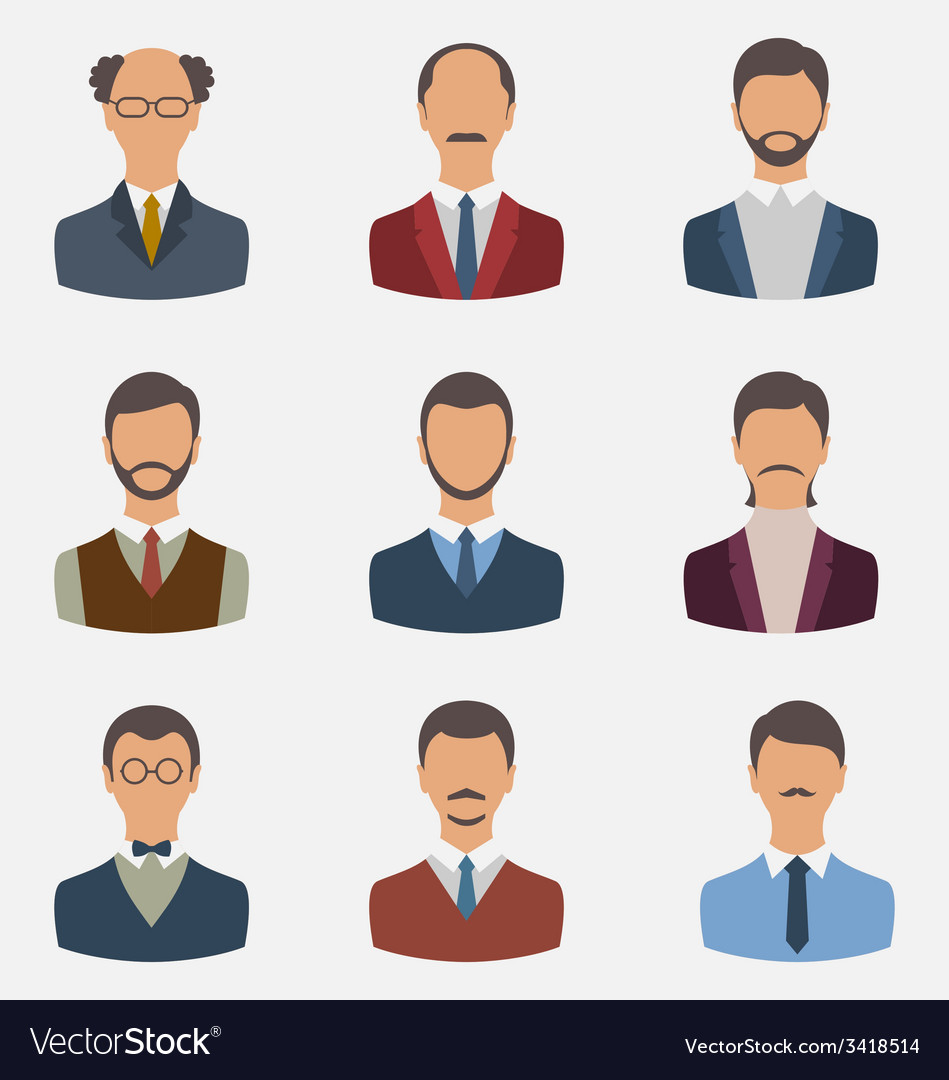 Set business people front portrait of males vector