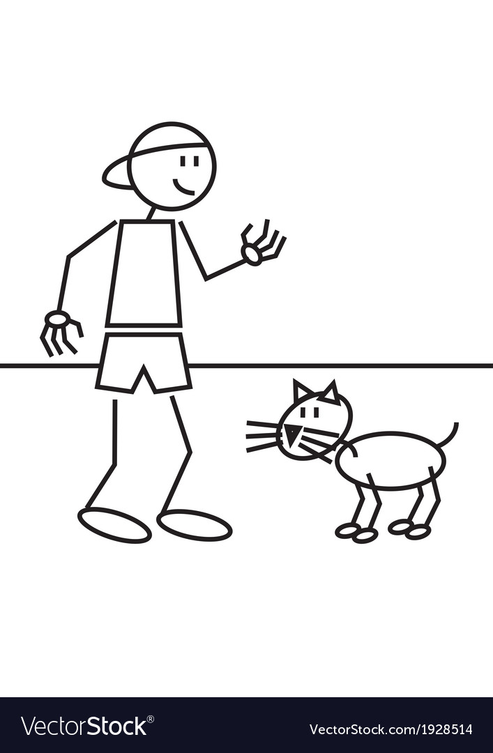 Stick figure boy cat vector