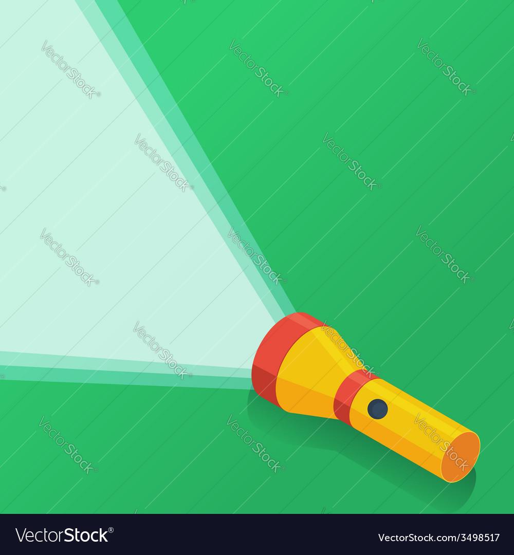 Yellow flashlight in flat style on green vector