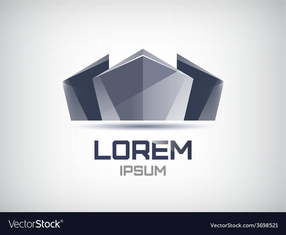 Futuristic monochrome building icon logo vector