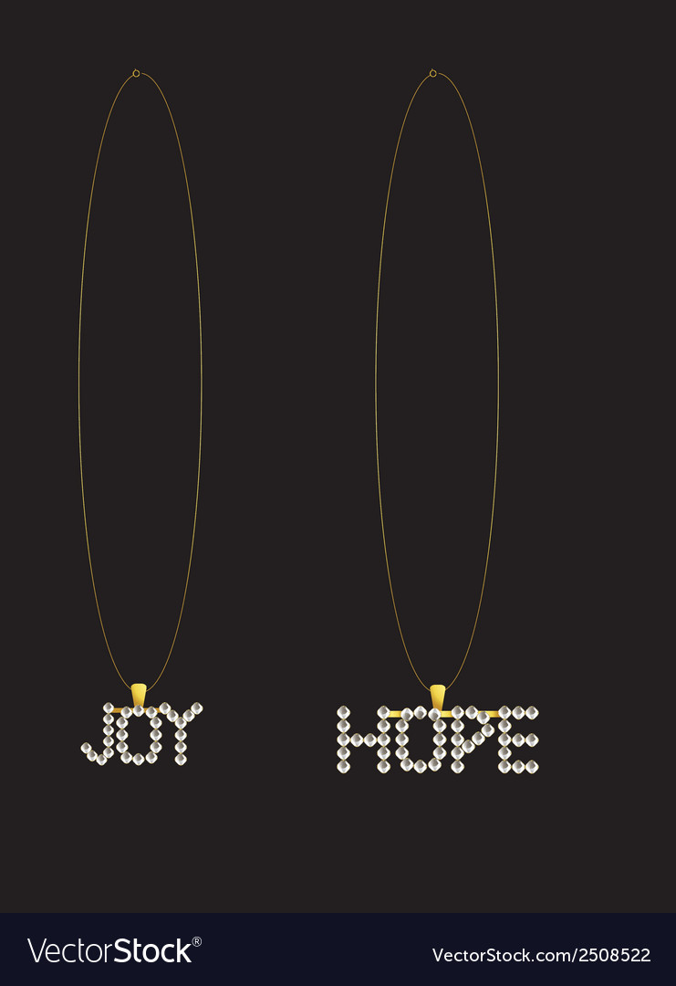 Gold diamond hope and joy necklaces vector