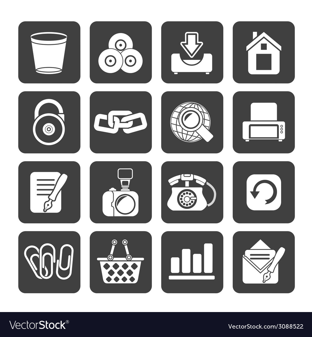 Silhouette website and internet icons vector