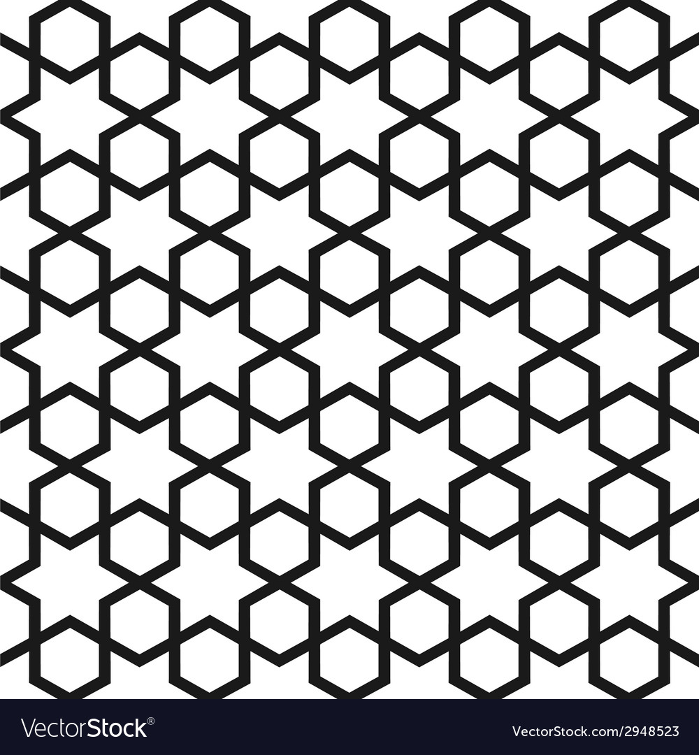 Black and white seamless pattern in islamic style vector