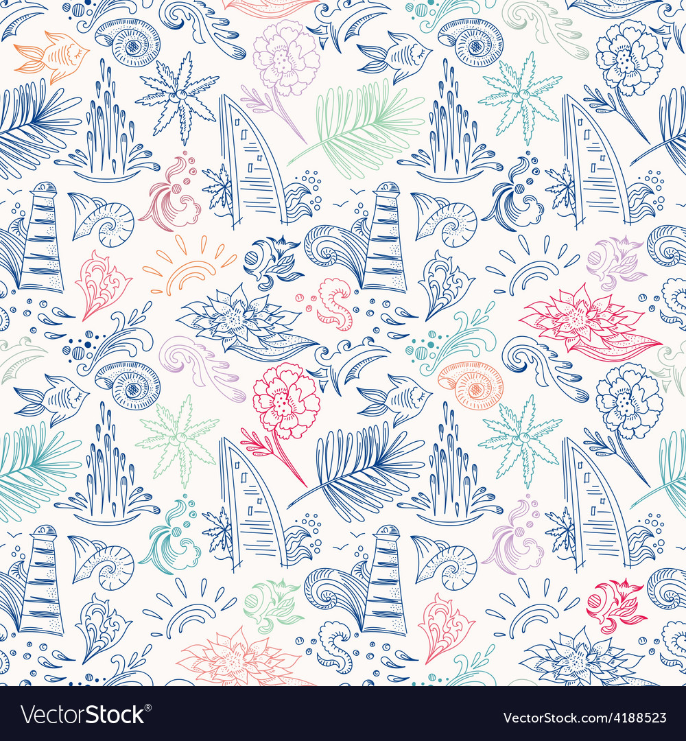 Colorful sketch travel pattern vector