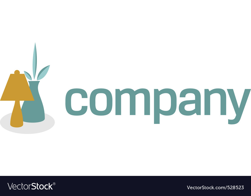 Lamp and bowl for decor logo vector