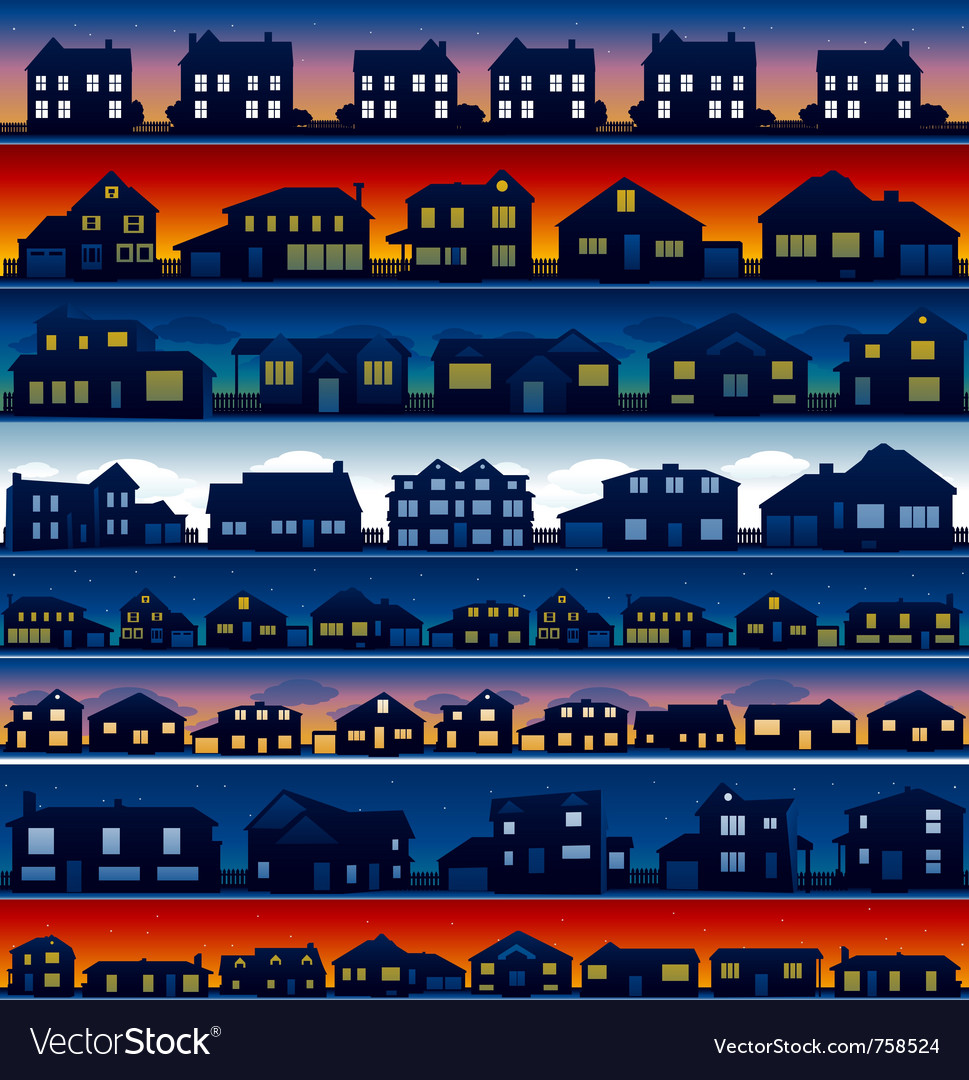 House silhouettes background vector