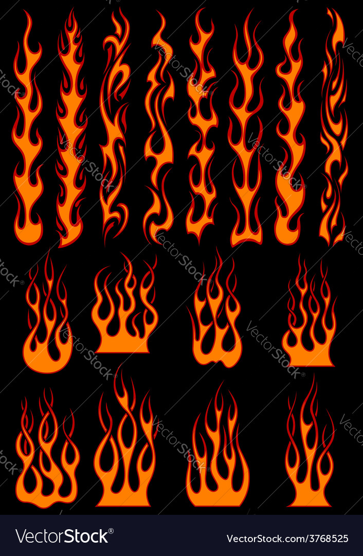 Various fiery flames in tribal style vector