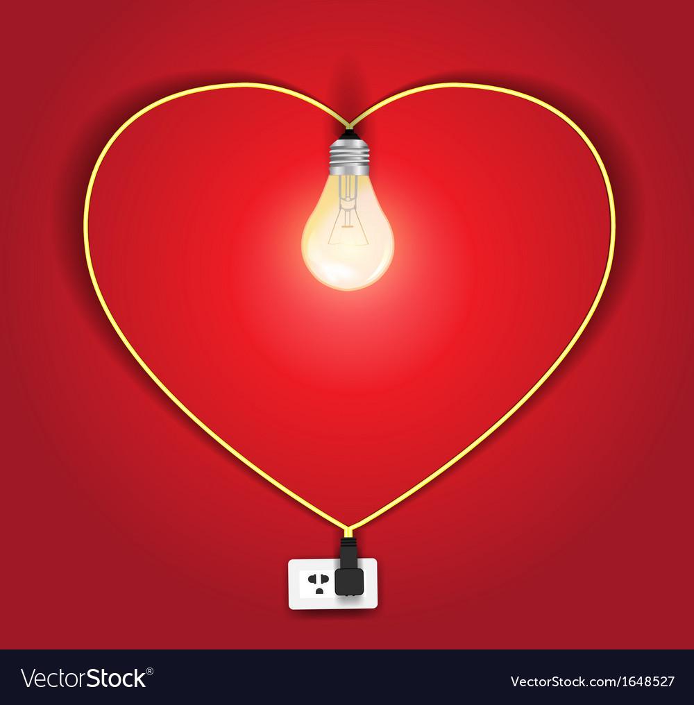 Heart lamp ideas concept vector