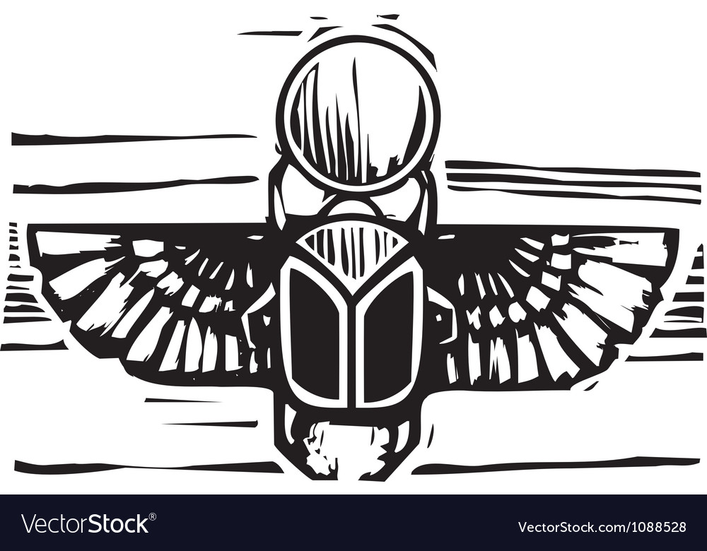 Egyptian winged scarab vector