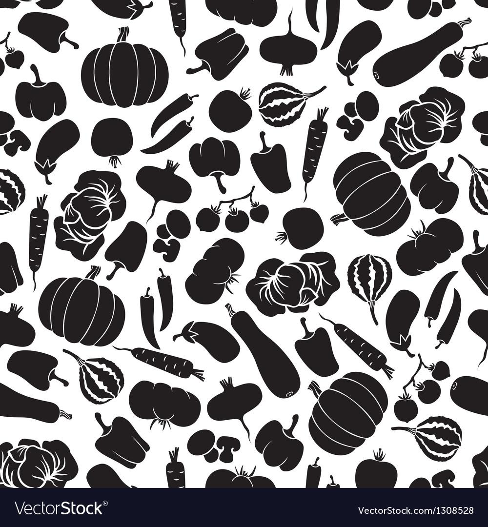 Vegetables pattern black vector