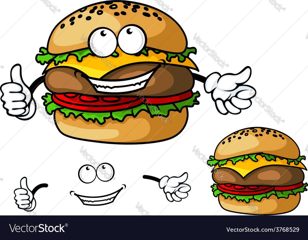 Fun cartoon cheeseburger vector