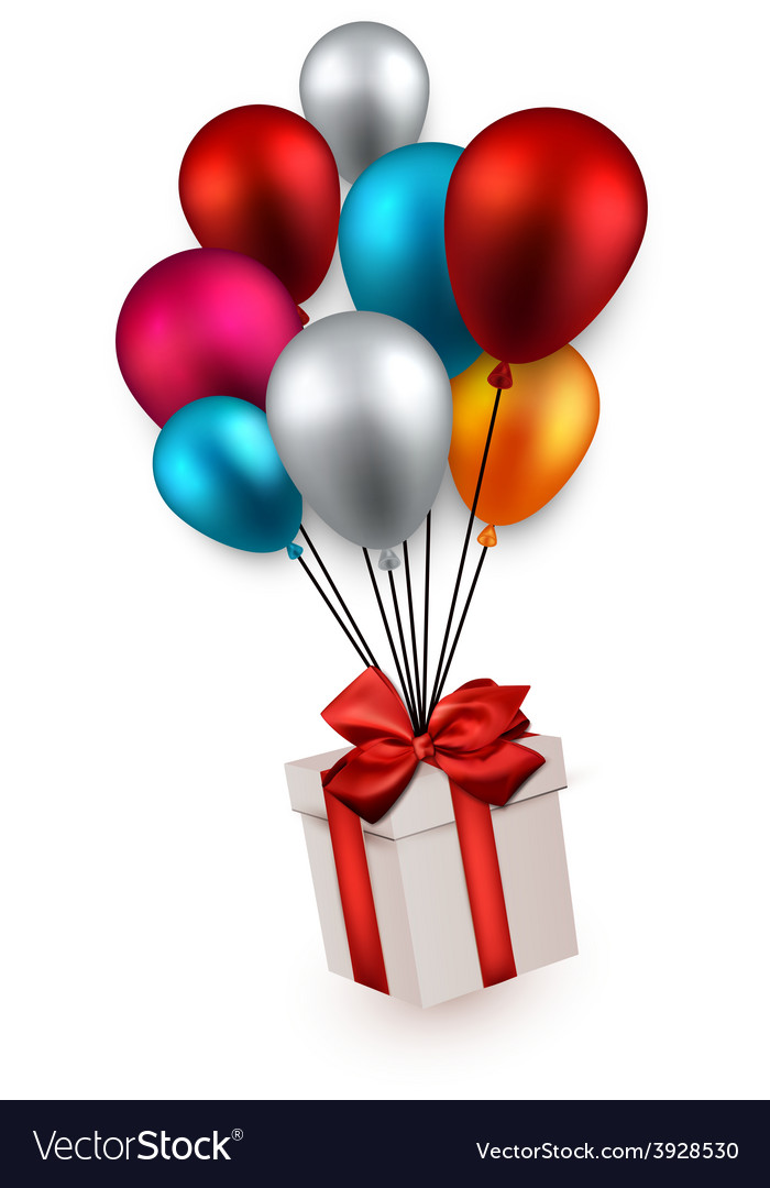 Gift box on colorful balloons vector