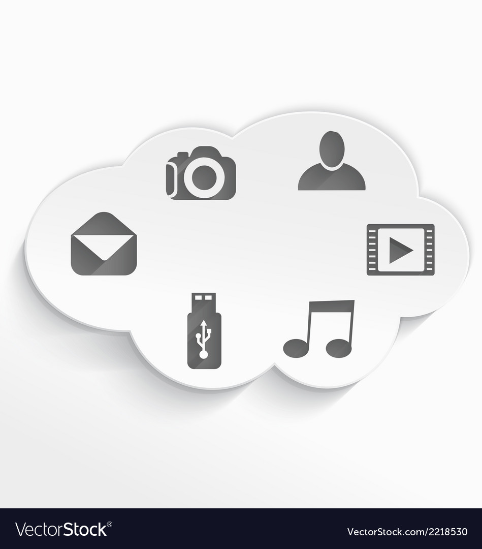 White cloud computing symbols cut vector