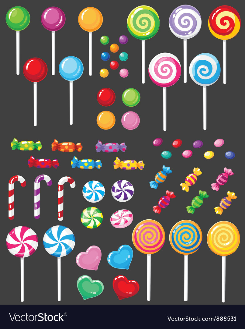 Sweets candy set vector