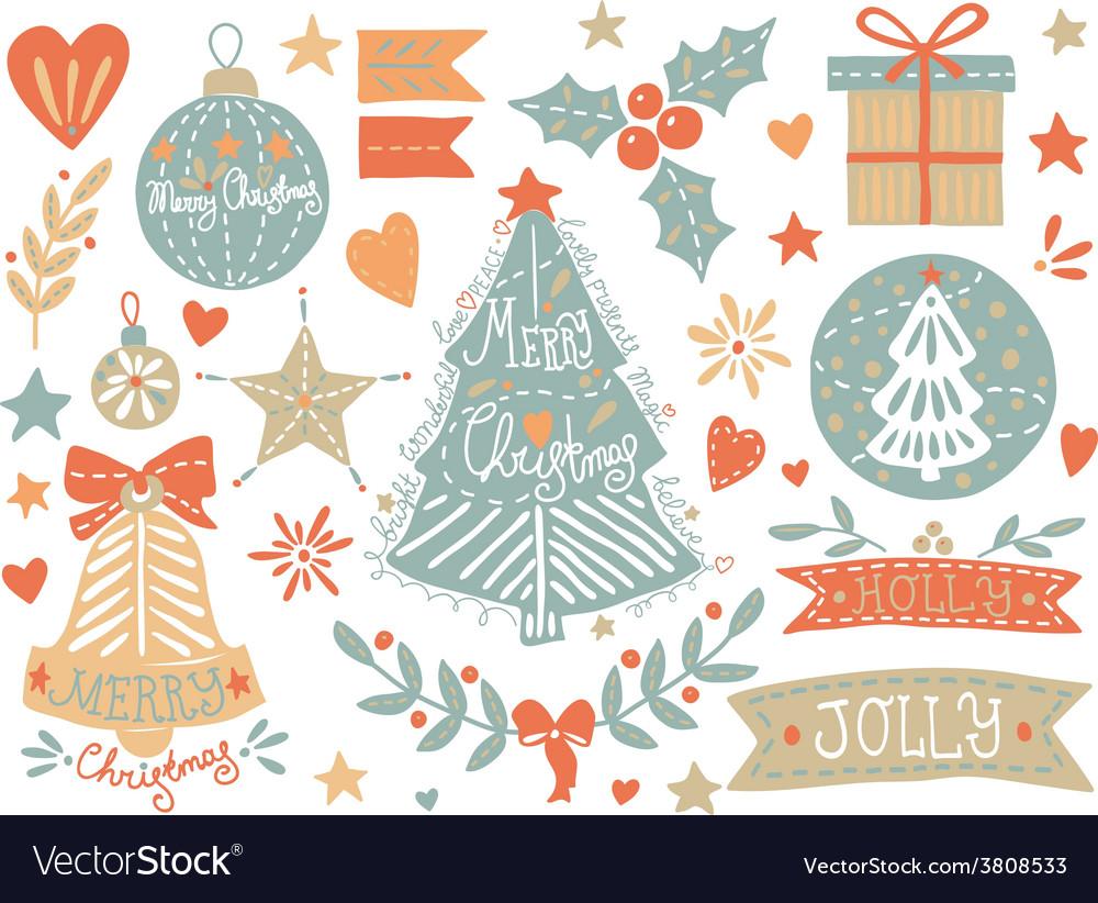 Sketchy christmas elements set vector