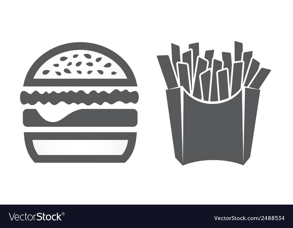 Hamburger and fries icons vector