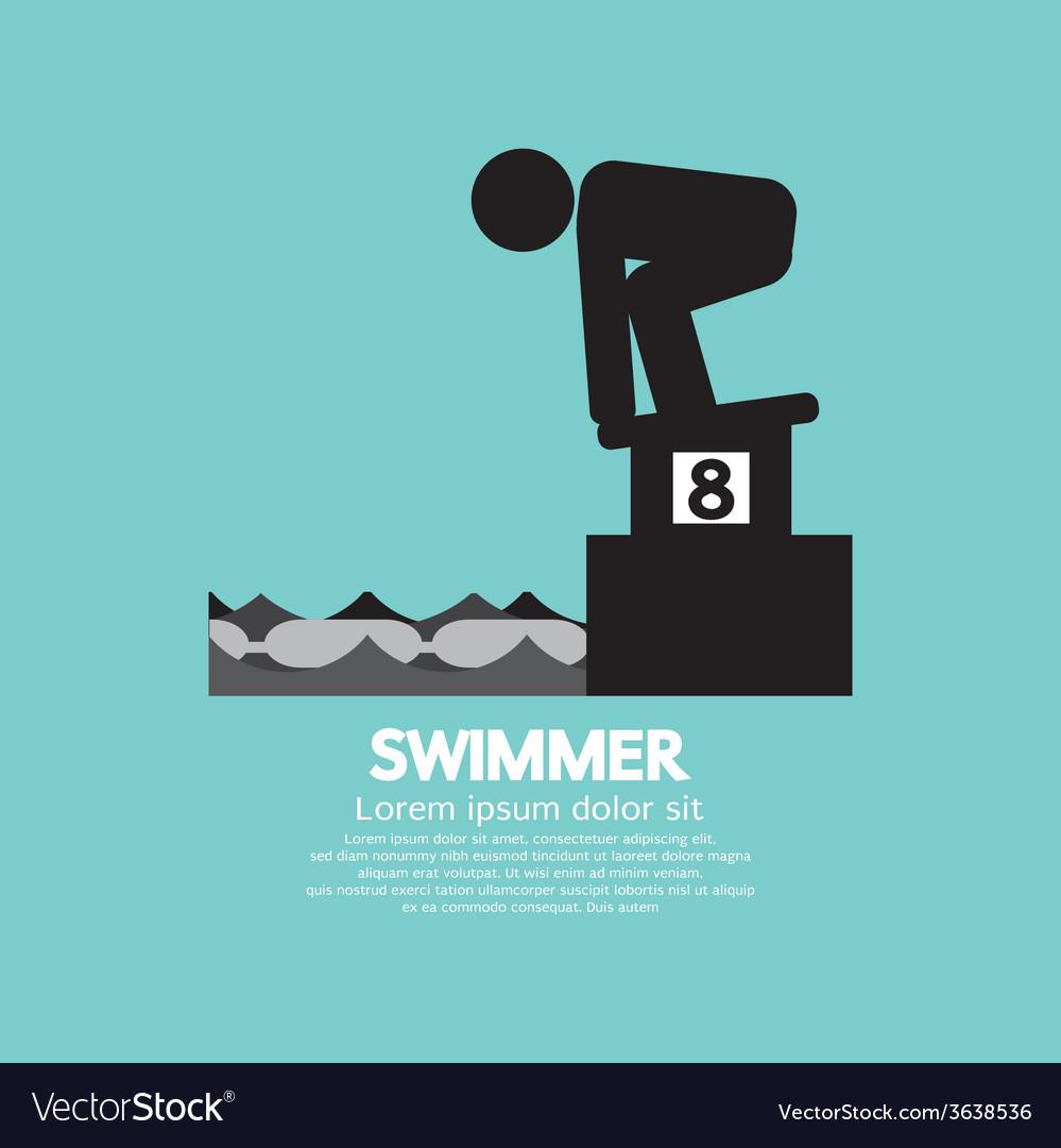 Swimmer at starting block symbol vector