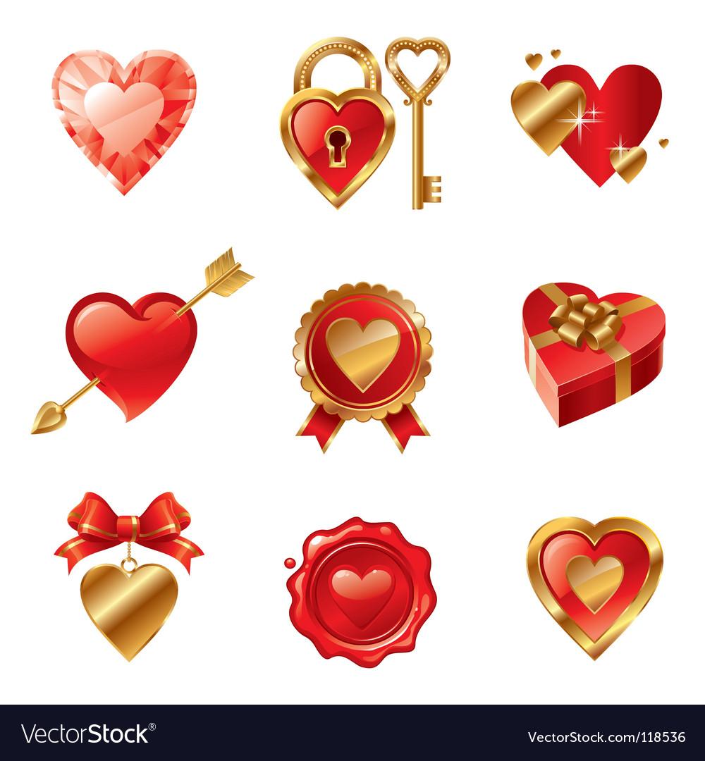 Valentine's symbols vector