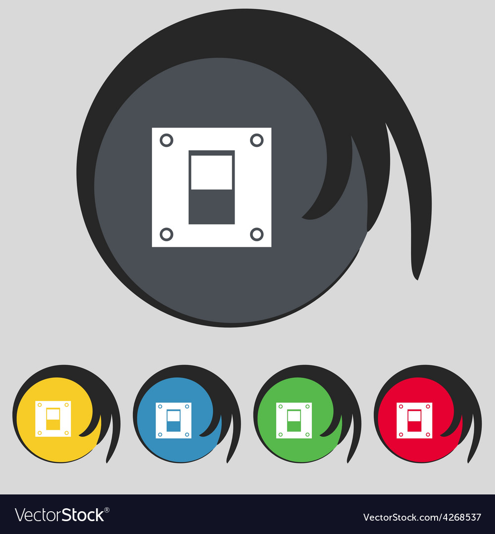 Power switch icon sign symbol on five colored vector